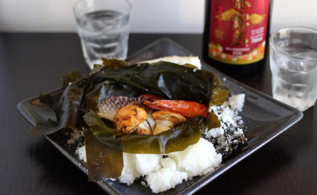 松茸、鯛、海老の塩釜焼き